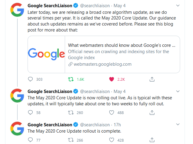 Google May 2020 core update