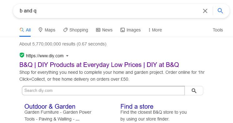 B&Q search exact match domain